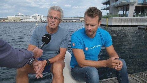 BADEDUELL: I valgkampen før stortingsvalget 2021 møttes Rasmus Hansson (MDG) og Jon Helgheim (Frp) for å diskutere tiltak i Oslo-fjorden. De kjempet da om samme Oslo-plass på Stortinget, en plass Hansson stakk av med.