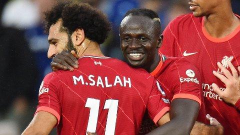 Sadio Mane jubler sammen med Mohamed Salah etter scoringen sin mot Leeds i helgen. Vi tror Liverpool-angriperne får mer å juble for mot AC Milan onsdag.