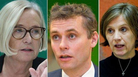FULL SPLITTELSE: Sp-toppene Marit Arnstad (t.v.), Ola Borten Moe og Kjersti Toppe krangler om SV skal tas inn i regjeringsvarmen eller ikke.