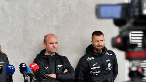 MYE ARBEID: Sportslig leder Jimmi Nagel Jacobsen og hovedtrener Eirik Horneland. Duoen styrer nå det sportslige i Brann.