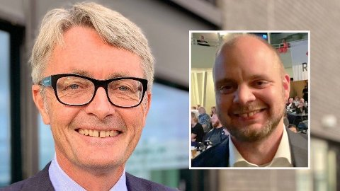SVAR PÅ TILTALE: Rødts nyvalgte Mímir Kristjánsson (innfelt) pareres av Akers konsernsjef Øyvind Eriksen.