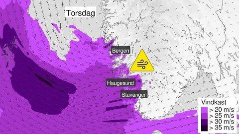 KRAFTIG VIND: Farevarselet for vindkast utenfor Bergen, Haugesund og Stavanger er ett av flere farevarsler meteorologene har sendt ut de siste dagene. - Fest løse gjenstander og vær forberedt på kraftig vind, heter det i varselet.