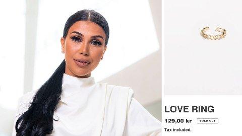 NY NETTBUTIKK: Isabel Raad har startet nettbutikk hvor hun selger smykker, ringer og annet accessories. Ringen til høyre i bildet er over 700 prosent dyrere enn samme ring koster på en annen nettside.