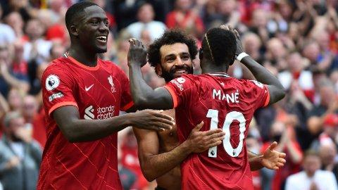 Mohamed Salah jubler etter scoringen mot Crystal Palace sist helg. Vi tror også at han scorer mot Brentford.