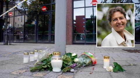 GÅR UT MED NAVN: Marianne Amundsen (innfelt) døde av skadene etter angrepet på Nav-kontoret i Bergen.