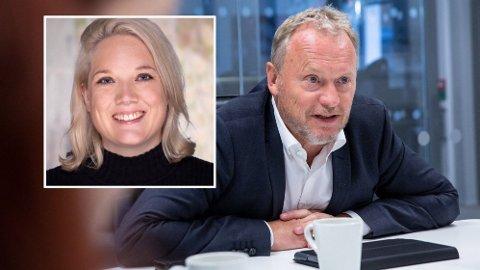 TAR TILBAKE: Byrådet i Oslo, med byrådsleder Raymond Johansen (Ap) i spissen, overtar nå driften fra de siste kommersielle sykehjemmene i hovedstaden. Det får Frp-politiker Aina Stenersen (innfelt) til å reagere.