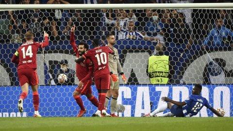 JUBEL: Mohamed Salah kunne juble for scoring mot Porto tirsdag kveld.