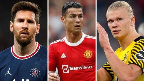 POPULÆRE KARER: Lionel Messi, Cristiano Ronaldo og Erling Haaland følges alle av millioner av mennesker i sosiale medier.