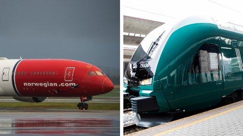 FLY vs TOG: Hvis du vil reise litt grønnere, eller bare foretrekker tog, koster deg mye om du skal reise rundt i Norge.