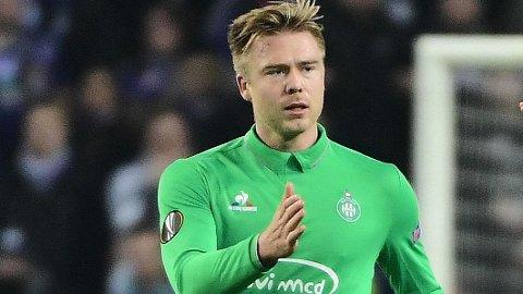 I GRØNT: Alexander Søderlund spilte for Saint-Étienne fra 2016 til 2018.