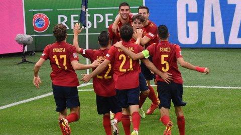 SPANSK JUBEL: Spania kunne juble for scoringer og avansement til Nations League-finalen.