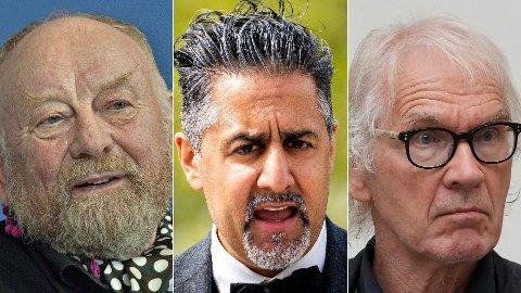 KREVER SVAR: Frp-politiker Erlend Wiborg mener kulturminister Abid Raja (midten) bør komme med en uttalelse etter dødsfallene til Kurt Westergaard (t.v.) og Lars Vilks.