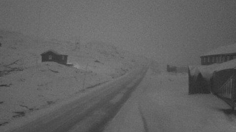 Snøen har kommet på fjellet i løpet av natten, her fra Fv55 ved Sognefjellshytta. Foto: Statens vegvesen / NTB
