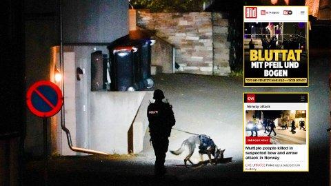 Drapene i Kongsberg får stor oppmerksomhet også i utlandet, og er blant annet toppsak i tyske Bild.de. Her er et bilde fra da politiet gjorde undersøker i Kongsberg sentrum i forbindelse med den alvorlige hendelse. Foto: Montasje: