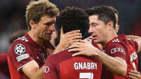 Robert Lewandowski, Thomas Müller and Serge Gnabry skal sørge for at Bayern München slår Bayer Leverkusen i søndagens Bundesligakamp.