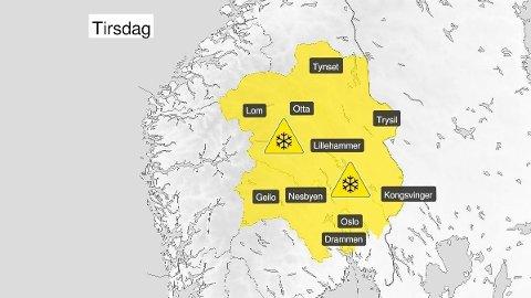SNØ: Meteorologene har sendt ut farevarsel for snø for områdene Buskerud, Akershus, Oslo, Oppland og Hedmark.