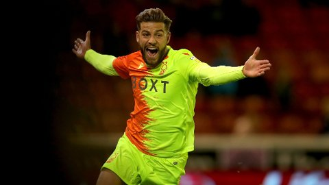 Nottingham Forest's Philip Zinckernagel celebrates after he scores his sides first goal during the Sky Bet Championship match at Oakwell, Barnsley. Picture date: Wednesday September 29, 2021.