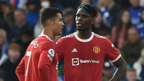 KRITISERES: Cristiano Ronaldo og Paul Pogba under lørdagens 4-2-tap mot Leicester. Ingen av stjernespillerne fikk det til å stemme i denne kampen.