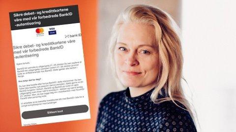 SVINDEL: Kommunikasjonsrådgiver i Vipps, Hege Steinsland, ber BankID-brukere være oppmerksomme på svindelforsøk. Foto: Skjermdump / Vipps