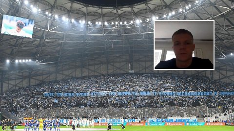 STOR INTERESSE: Eirik Haugan (innfelt) snakker varmt om stemningen på Marseilles hjemmekamper.