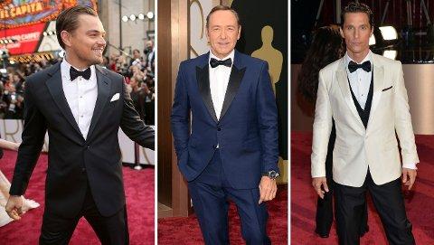 SEXY KARER: Leonardi DiCaprio i mørkt blått, Kevin Spacey i klart blått pg Matthew McConaughey i hvitt utgjorde noen av de mest sexy gutta på den røde løperen.