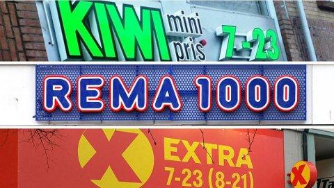 NESTEN LIKE BILLIG: Rema 1000, Kiwi og Extra er de tre store lavpriskjedene i Norge og har to tredjedeler av det norske dagligvaremarkedet.