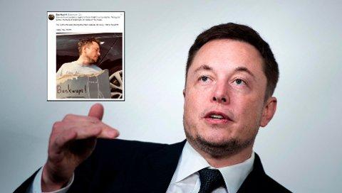 APRILSNARR: Elon Musk prøvde seg på en aprilsnarr om at Tesla var gått konkurs. Da rømte aksjonærene.