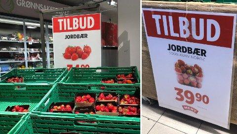 TILBUD VAR IKKE BILLIG: Butikkene merket jordbær-prisene med «tilbud» uten at det var spesielt billig.