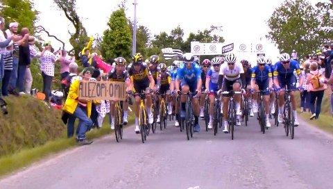 HER SKJER ULYKKEN: En kvinner starter en massevelt i Tour de France når hun holder opp et papirskilt foran rytterne.