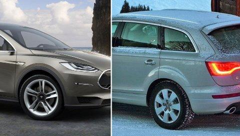 VIL OVERGÅ TESLA: Tesla Model X (t.v.) kommer neste år - og den elektriske SUVen får en rekkevidde på rundt 500 kilometer. Men Audi har ingen planer om å sitte på sidelinjen, og har planer om en luksus-SUV med rekkevidde på hele 700 kilometer.