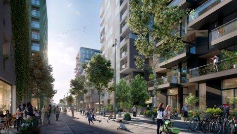KOMPAKT OG NÆR: Selvaag Bolig vil bygge en kompakt by hvor man får utført de fleste av sine daglige gjøremål. Illustrasjon.