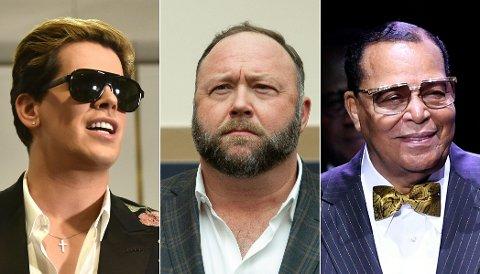 KASTET UT: Milo Yiannopoulos (t.v.), Alex Jones (midten) og Louis Farrakhan har alle blitt kastet ut av Facebook.