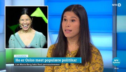 POPULÆR: MDG-topp i Oslo, Lan Marie Nguyen Berg, gjestet Dagsrevyen-studio torsdag kveld for å kommentere sitt eget brakvalg i Oslo. Hun var den politikeren som fikk flest personstemmer og slengere.