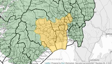 GULT FAREVARSEL: NVE har ute varsel om jordskredfare i Aust-Agder, Telemark, Vestfold, Buskerud og Akershus.