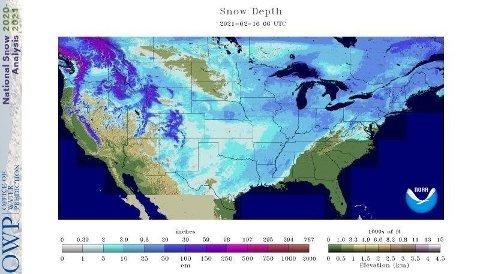 73 prosent av USA var dekket med snø tirsdag 16. februar. Snittdybden er på hele 15 centimeter, viser tall fra National Operational Hydrologic Remote Sensing Center.