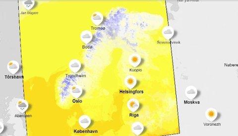LAVERE TEMPERATURER: På nettstedet yr.no, et samarbeid mellom Meteorologisk institutt og NRK, finner du værkart med temperaturutsikter for de nærmeste dagene.