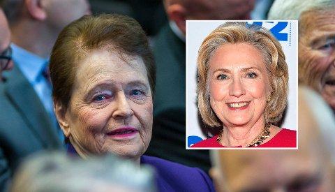 TOPPMØTE: Hillary Clintons apparat ba Gro Harlem Brundtland om et møte i forbindelse med Oslo-besøket på kvinnedagen. Det blir ikke noe av.