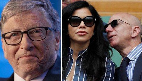 RIKINGER: Microsoft-gründer Bill Gates rykker ned på millardær-liste, mens Amazon-gründer Jeff Bezos har latt seg avbilde med kvinnen han hadde en affære med, som nå er hans kjæreste.