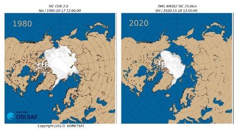 IS I ARKTIS: Meteorologisk institutt, som daglig overvåker sjøisen, sier de aldri har målt så lite is i oktober som vi har gjort de siste dagene.