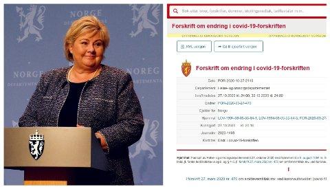 HELE LANDET: Statsminister Erna Solberg presenterte mandag 26. oktober skjerpede smitteverntiltak for hele landet.