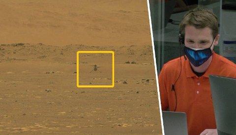 Her lander nordmannen helikopteret på Mars sin røde overflate.