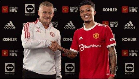 PÅ PLASS: Jadon Sancho har signert for Ole Gunnar Solskjærs Manchester United.