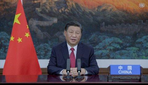 Kinas president Xi Jinping i sin forhåndsinnspilte tale til FNs hovedforsamling. Foto: UN Web TV via AP / NTB