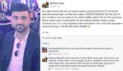 FÅR KRITIKK: Årets Osloborger får kritikk for kommentarer om homofili han har skrevet på Facebook.