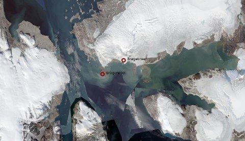 Slik så Brageneset ut da det ennå var dekket til med isbre.