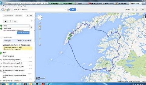 OMVEI: Her anbefaler Google maps «korteste vei» mellom Reine og Mølnarodden.