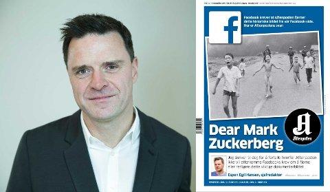 FØRSTESIDEN: Aftenposten bruker dagens førsteside til redaktør Espen Egil Hanses personlig brev til Facebook og Mark Zuckerberg.