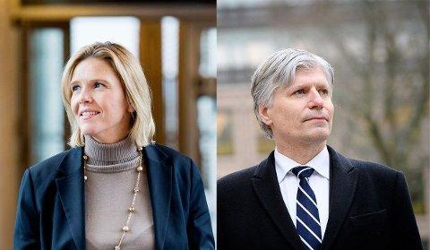 ISFRONT: Oljeminister Sylvi Listhaug (Frp) og klimaminister Ola Elvestuen (V).