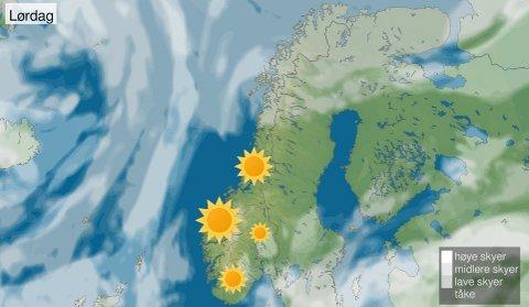 SOLFYLT: Prognosene for lørdag viser høytrykk og sol i store deler av landet.