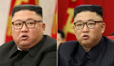 FORVANDLING: Bildemontasjen viser Nord-Koreas leder Kim Jong-uns tilsynelatende vekttap. Bildet til venstre ble tatt 8. februar, mens bildet til høyre ble tatt 15. juni.